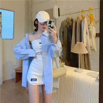 Fashion suit Summer 2020 S. M, average size White suit, blue shirt 18-25 years old Other / other seven hundred and twenty-seven 91% (inclusive) - 95% (inclusive)