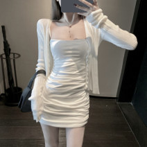 Fashion suit Summer of 2019 S. M, average size White cardigan, white skirt 18-25 years old 30% and below acrylic fibres