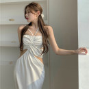 Dress Spring 2021 white Average size Mid length dress singleton  Sleeveless commute One word collar High waist Solid color Socket One pace skirt other Hanging neck style 18-24 years old Type A Other / other Retro 0331+