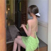 Dress Spring 2021 Light green S,M,L Short skirt singleton  Sleeveless commute One word collar High waist Solid color Socket A-line skirt other camisole 18-24 years old Type A Other / other Retro 0314+ 31% (inclusive) - 50% (inclusive) polyester fiber