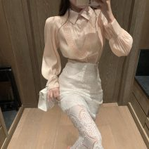 skirt Spring 2021 S. M, average size Pink shirt with ear edge and lace cut-out skirt Mid length dress commute High waist A-line skirt Solid color 18-24 years old 0205+ Other / other Lace Retro