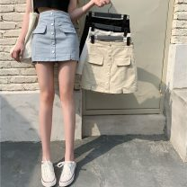 skirt Spring 2021 S,M,L Short skirt commute High waist A-line skirt Solid color Type A 18-24 years old 51% (inclusive) - 70% (inclusive) other Other / other Button Retro