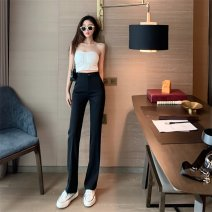 Casual pants Black, apricot S,M,L Summer 2020 trousers Flared trousers High waist commute routine 18-24 years old 96% and above Other / other Retro polyester fiber