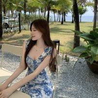 Dress Summer 2021 blue and white porcelain S, M Short skirt singleton  Sleeveless commute One word collar High waist Broken flowers Socket Big swing other camisole 18-24 years old Other / other Retro 0406+ 81% (inclusive) - 90% (inclusive) Chiffon