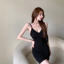 Dress Summer 2021 Gray, black Average size Short skirt singleton  Sleeveless commute V-neck High waist Solid color Socket A-line skirt routine camisole 18-24 years old Type A Other / other Retro 0406+ 71% (inclusive) - 80% (inclusive) polyester fiber