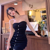 Dress High waist Summer 2021 Short skirt Sleeveless Retro Two piece set commute Solid color Straight collar Condom 18-24 years old A-line skirt other More than 95% Breast wrapping 0508+ fold Other / other One size fits all