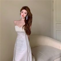 Dress Summer 2021 colour S, M Mid length dress singleton  Sleeveless commute One word collar High waist Solid color Socket A-line skirt other camisole 18-24 years old Other / other Retro 0403+