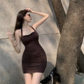 Dress Summer 2021 khaki S, M Short skirt singleton  Sleeveless commute One word collar High waist Solid color Socket A-line skirt other Hanging neck style 18-24 years old Type A Other / other Retro 0404+