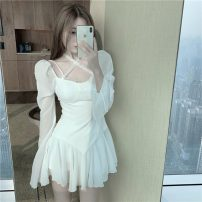 Dress Spring 2021 White dress, safety pants S, M Short skirt Two piece set Long sleeves commute square neck High waist Solid color Socket other routine Others 18-24 years old Type A Other / other Retro 0317+ other other