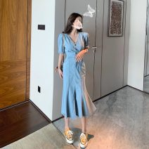 Dress Spring 2021 blue S,M,L Mid length dress singleton  Short sleeve commute V-neck High waist Solid color Socket One pace skirt routine Others 18-24 years old Type H Other / other Retro 0303+ Denim cotton