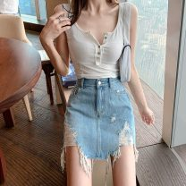 skirt Spring 2021 S,M,L blue Short skirt commute High waist Denim skirt Solid color Type A 18-24 years old 0224+ Other / other cotton Retro