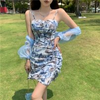 Dress Spring 2021 S, M Short skirt Two piece set Sleeveless commute One word collar High waist Broken flowers Socket A-line skirt other camisole 18-24 years old Other / other Retro 0401+