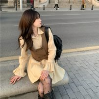 Dress Spring 2021 Vest, dress S,M,L Short skirt Two piece set Long sleeves commute Polo collar High waist Solid color Single breasted A-line skirt pagoda sleeve Others 18-24 years old Type A Other / other Retro 0304+