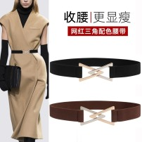 Belt / belt / chain cloth Black Brown female Waistband leisure time Single loop Middle aged and elderly a hook Geometric pattern Glossy surface 3cm alloy Bare elastic Leisure house YF31102eDQkDW 100cm Winter 2020 yes