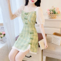 Dress Summer 2020 Green dress, yellow dress, orange dress S,M,L Middle-skirt Two piece set Short sleeve commute square neck middle-waisted lattice Socket A-line skirt puff sleeve Others 18-24 years old Type A Retro 31% (inclusive) - 50% (inclusive) Chiffon other