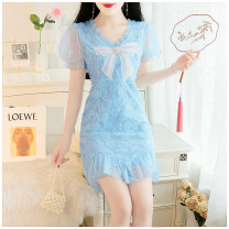 Dress Summer 2020 Blue, pure white S,M,L Middle-skirt singleton  Short sleeve commute V-neck High waist Solid color zipper A-line skirt puff sleeve 18-24 years old Type A Other / other lady 81% (inclusive) - 90% (inclusive) Lace