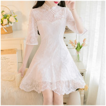 Dress Summer 2020 White, apricot S,M,L Middle-skirt singleton  Short sleeve commute stand collar High waist Solid color zipper A-line skirt routine Others 18-24 years old Type A Other / other lady 51% (inclusive) - 70% (inclusive) Lace