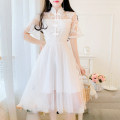 Dress Summer 2020 White, pink S,M,L,XL Mid length dress singleton  Short sleeve commute stand collar High waist Solid color Single breasted Big swing routine Others 18-24 years old Type A Other / other Retro 51% (inclusive) - 70% (inclusive) Lace