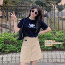 skirt Summer 2021 S,M,L Khaki Skirt (original) Short skirt commute High waist A-line skirt Solid color Type A 25-29 years old HY215000 More than 95% other