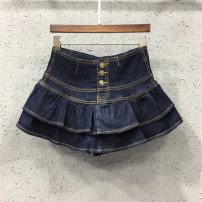 skirt Summer of 2018 S M L XL 2XL Dark blue black light blue Short skirt street High waist Cake skirt Solid color Type X Y18H27742 71% (inclusive) - 80% (inclusive) Denim AI Tianli cotton Pleated button with open line decoration Cotton 80% polyester 20% Pure e-commerce (online only)