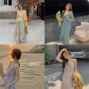 Dress Spring 2021 Solid - Champagne, solid - Glacier blue, floral - hyacinth, floral - Iris, solid - Glacier blue S,M,L Middle-skirt singleton  Sleeveless commute square neck Loose waist other zipper Irregular skirt 18-24 years old Simplicity Asymmetry, split 82231L0142/82231L0145