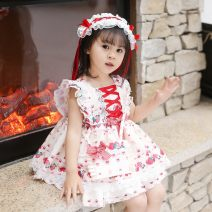 Dress Spring 2021 white The recommended height is 75cm for size 80, 85CM for Size 90, 95cm for size 100, 115cm for size r2120 and 125cm for Size 130 Middle-skirt singleton  Sleeveless Sweet Crew neck middle-waisted Socket Princess Dress routine Others Under 17 Type A Other / other More than 95% other