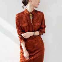 Dress Spring 2021 Black, Caramel S,M,L,XL Mid length dress singleton  Long sleeves commute Polo collar High waist other Single breasted One pace skirt shirt sleeve Oblique shoulder 30-34 years old Type H BEEWOOD/ Wutong Lace up, button, zipper T1462 31% (inclusive) - 50% (inclusive) other silk