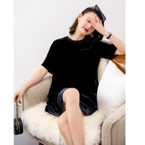 Dress Spring 2021 Velvet black S,M,L,XL Middle-skirt singleton  Short sleeve commute Crew neck Loose waist Solid color Socket Big swing routine 30-34 years old Type H BEEWOOD/ Wutong Splice, threaded T1579 30% and below silk