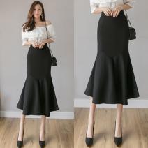 skirt Winter 2020 S,M,L,XL,2XL,3XL Black, red longuette commute High waist Ruffle Skirt Solid color Type X 25-29 years old 51% (inclusive) - 70% (inclusive) brocade Viscose Zipper, Ruffle Korean version