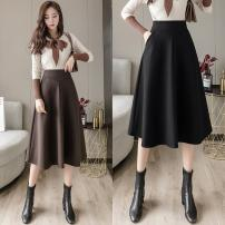skirt Winter 2020 S,M,L,XL,2XL Black, khaki, coffee Mid length dress commute High waist A-line skirt Solid color Type A 25-29 years old 51% (inclusive) - 70% (inclusive) Wool other zipper Korean version