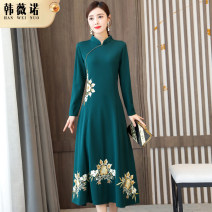 Dress Winter 2020 Green [Plush] green [regular] black [Plush] black [regular] M L XL 2XL 3XL 4XL Mid length dress singleton  Long sleeves commute stand collar middle-waisted other zipper A-line skirt routine Others 30-34 years old Type A Han Weinuo Retro Embroidered zipper NRJ-20100605## other