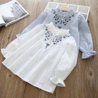 shirt White, blue Other / other female 7(100cm),9(110cm),11(120cm),13(130cm),15(140cm) spring and autumn Long sleeves Korean version other other stand collar