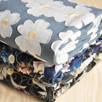 Fabric / fabric / handmade DIY fabric Denim Loose shear piece Plants and flowers printing and dyeing clothing Europe and America Printing combination