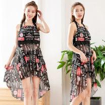 Split swimsuit Baiya black M [75-95 Jin], l [95-105 Jin], XL [105-130 Jin] Skirt split swimsuit With chest pad without steel support polyester fiber female