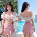 Split swimsuit Baiya M [80-95 Jin], l [95-105 Jin], XL [105-120 Jin] Skirt split swimsuit With chest pad without steel support polyester fiber female One word collar