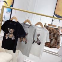 T-shirt White T, black T, gray T, plaid skirt, plaid shorts skirt Other / other 90cm,100cm,110cm,120cm,130cm,140cm,150cm,S,M,L currency cotton lattice Cotton 100%