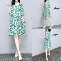 Dress Summer 2021 green S,M,L,XL,2XL,3XL singleton  Short sleeve commute Crew neck Loose waist routine Korean version