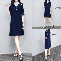 Dress Summer 2021 Navy Blue S,M,L,XL,2XL,3XL singleton  Short sleeve commute Loose waist Solid color Socket routine