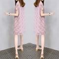 Dress Summer 2021 Pink S,M,L,XL,2XL,3XL singleton  Short sleeve commute Doll Collar Loose waist Socket A-line skirt routine Type A Korean version Chiffon
