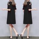 Dress Summer 2021 black S,M,L,XL,2XL,3XL singleton  Short sleeve Crew neck Loose waist
