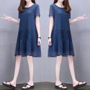 Dress Summer 2021 Navy Blue S,M,L,XL,2XL,3XL singleton  Short sleeve commute Crew neck Loose waist Solid color Socket routine Others Korean version Splicing