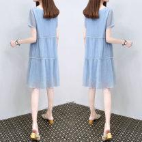 Dress Summer 2021 blue S,M,L,XL,2XL,3XL singleton  commute Crew neck Loose waist Socket A-line skirt routine Others Korean version