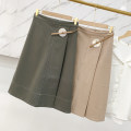 skirt Autumn 2020 S,M,L Green skirt, apricot skirt Middle-skirt commute High waist A-line skirt Solid color Type A 18-24 years old FCXH811642 30% and below other other Korean version