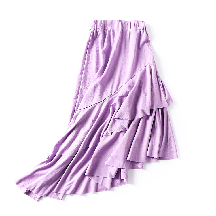 skirt Autumn of 2018 S M violet Mid length dress commute High waist Irregular Solid color 18-24 years old SG801081 30% and below Korean version