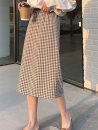 skirt Summer 2020 S,M,L Yellow brown, black and white Mid length dress commute High waist High waist skirt lattice Type A 18-24 years old 71% (inclusive) - 80% (inclusive) other Other / other Split Korean version