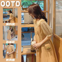 Dress Spring 2021 Picture color suit S M L XL Mid length dress Two piece set Short sleeve commute Doll Collar Loose waist Solid color Single breasted Princess Dress Petal sleeve camisole 18-24 years old Type A Han Feili Korean version A0304.21 More than 95% brocade other Other 100%