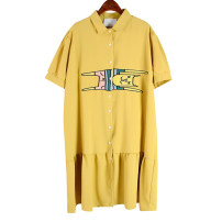 Dress Summer 2021 yellow Average size Middle-skirt singleton  Short sleeve commute Loose waist Single breasted 25-29 years old Type H Korean version 51% (inclusive) - 70% (inclusive) Chiffon polyester fiber