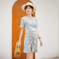 Dress Jianyu Grey black Average size Korean version Short sleeve Medium length summer Crew neck Solid color L607