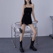 skirt Summer 2020 XS S M L Skirt (with safety pants) suspender (more beautiful with matching) Short skirt commute High waist A-line skirt Solid color Type A 18-24 years old 51% (inclusive) - 70% (inclusive) knitting Oliver Viscose 3D Korean version