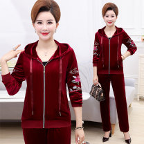 Middle aged and old women's wear Autumn of 2018 Red purple Navy motion suit Self cultivation Two piece set Flower and bird pattern 40-49 years old Cardigan moderate Hood routine routine Embroidery other Other 100% 96% and above Pure e-commerce (online only) zipper trousers